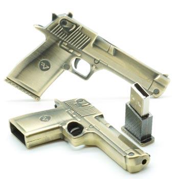 флешка 16Гб Пистолет металлический
